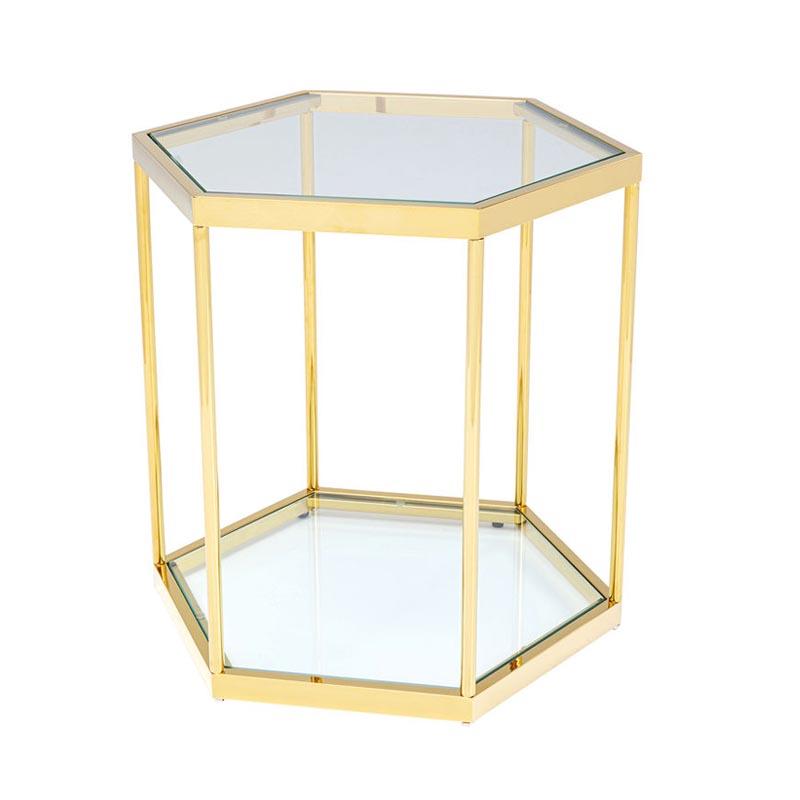 Sidobord Hexagon guld, 55 cm