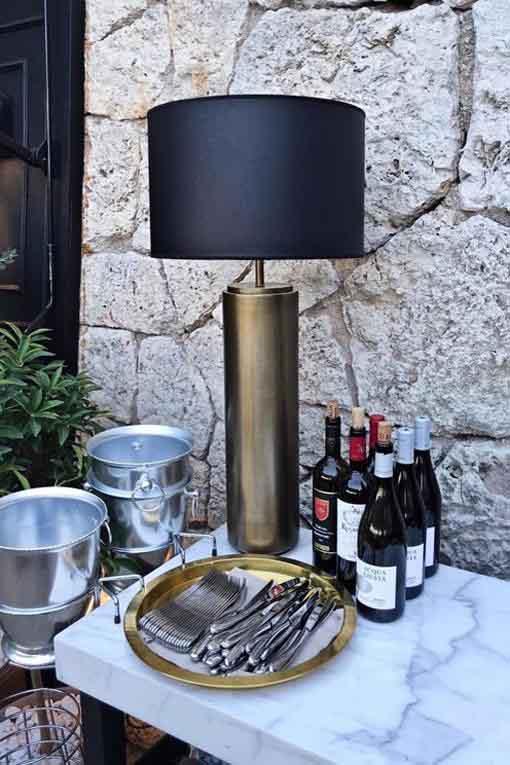 Lampfot Cylinder Mässing Hög