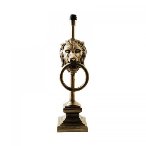 Lampfot Bordslampa Lejon antik silver