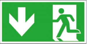 Utrymningsskylt ISO pil nedåt på vänster sida| Everglow.se