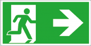 Utrymningsskylt ISO pil höger| Everglow.se