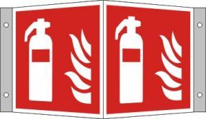 Brandsläckarskylt i vinkel