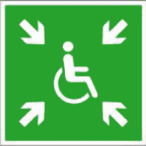 Samlingsplatsskylt för rullstol