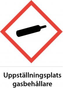 Varningsskylt Uppställningsplats gasbehållare