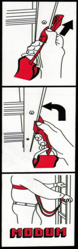 Instruktionsskylt säkerhetssele för fasadstege