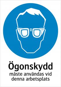 Påbudsskylt Ögonskydd v.d.a