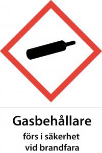Varningsskylt Gasbehållare förs i säkerhet