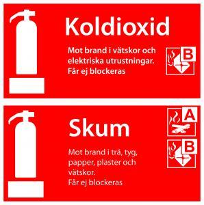 Varningsskylt Tilläggsskylt skum / koldioxid| Everglow.se