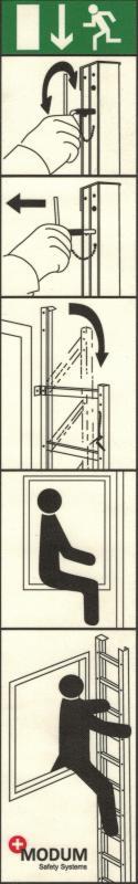 Instruktionsskylt utrymningsstege för fönsterkarm