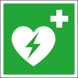 Efterlysande nödskylt hjärtstartare