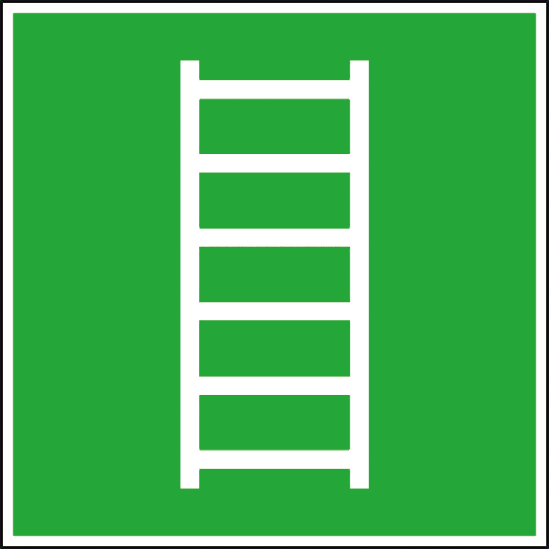 Efterlysande nödskylt stege