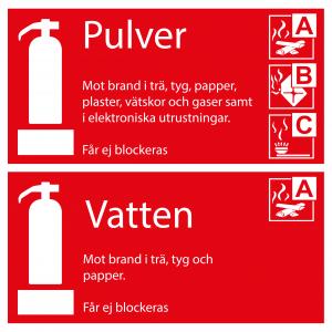 Varningsskylt Tilläggsskylt pulver / vatten| Everglow.se