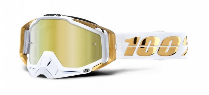 100% Racecraft LTD Crossglasögon Vit/Guld, Guldspegel Siktskiva