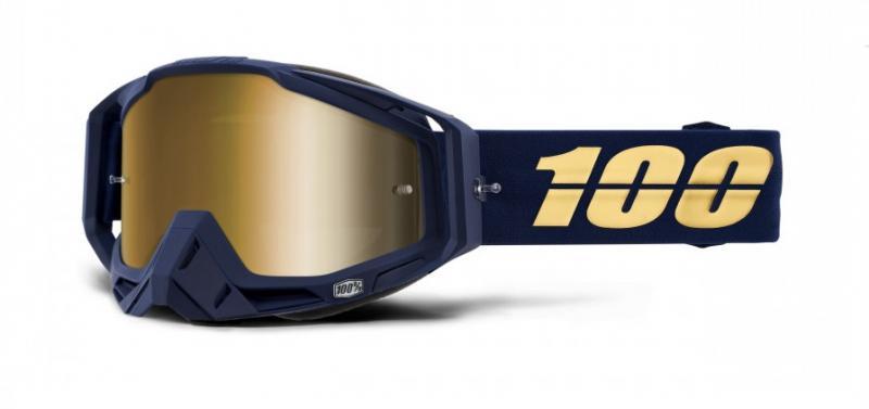 100% Racecraft Bakken Crossglasögon Svart, Guldspegel Siktskiva