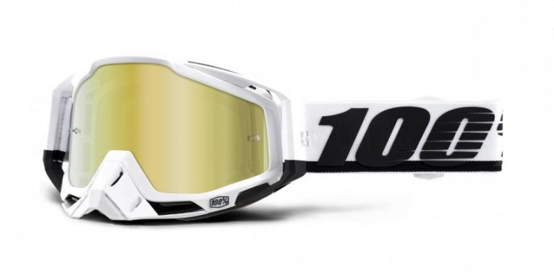 100% Racecraft Stuu Crossglasögon Vit/Svart, Guldspegel Siktskiva