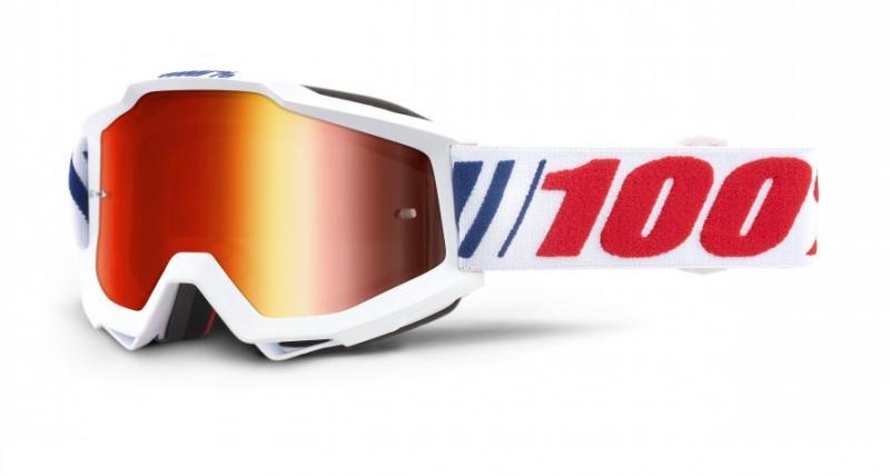 100% Accuri AF066 Crossglasögon Vit, Rödspegel Siktskiva