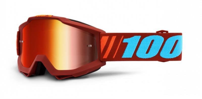 100% Accuri Dauphine Crossglasögon Röd, Rödspegel Siktskiva