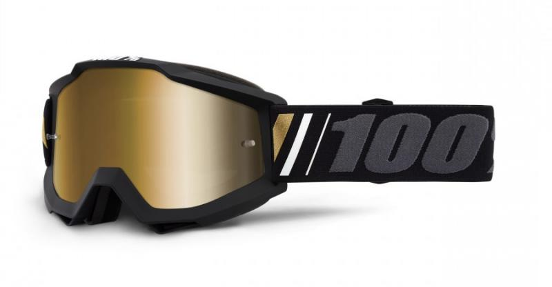 100% Accuri Off Crossglasögon Svart, Guldspegel Siktskiva