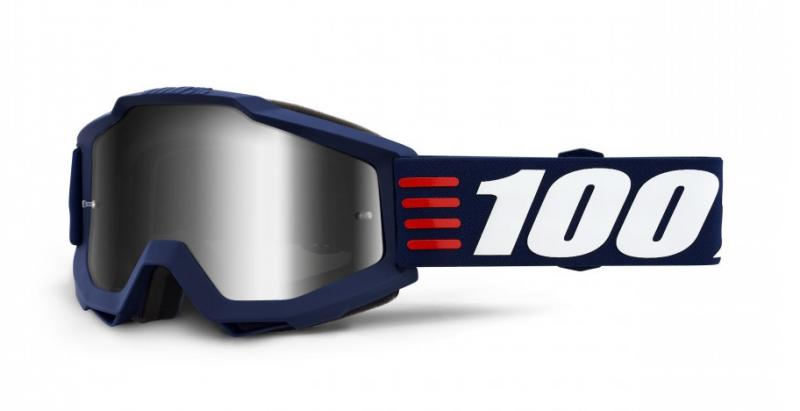 100% Accuri Art Deco Crossglasögon Blå, Silverspegel Siktskiva