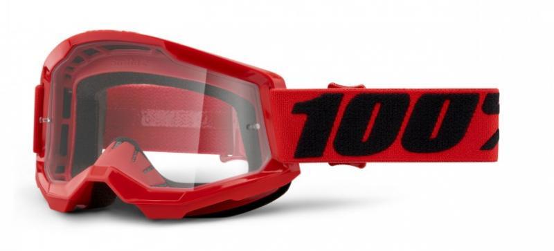 100% Strata 2 Crossglasögon Röd, Klar Siktskiva