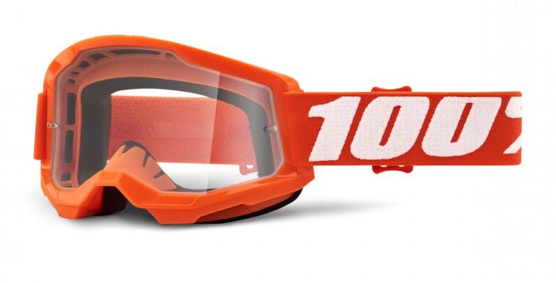 100% Strata 2 Crossglasögon Orange, Klar Siktskiva