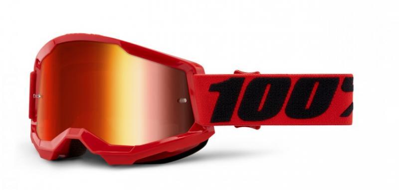 100% Strata 2 Crossglasögon Röd, Rödspegel Siktskiva