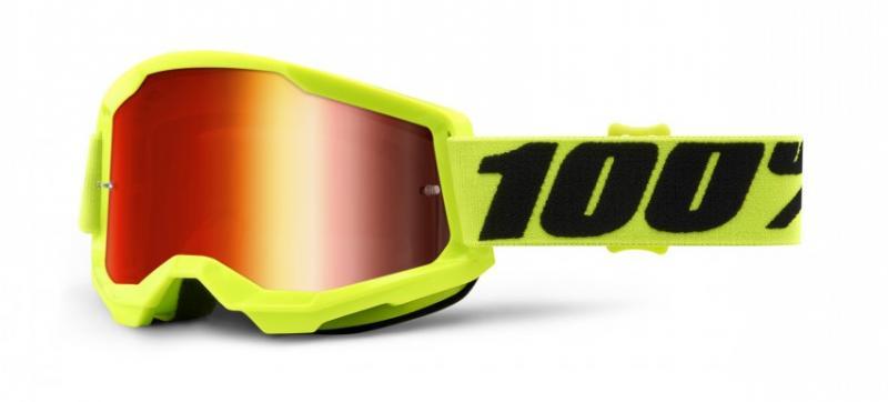 100% Strata 2 Crossglasögon Gul, Rödspegel Siktskiva