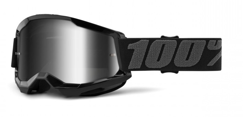 100% Strata 2 Crossglasögon Svart, Silverspegel Siktskiva