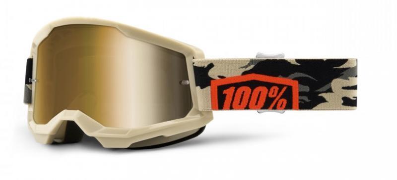 100% Strata 2 Crossglasögon Kombat,Guld Siktskiva