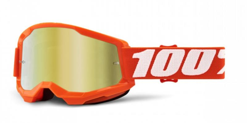 100% Strata 2 Crossglasögon Orange, Guldspegel Siktskiva