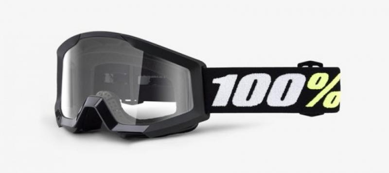 100% Strata Mini Barn Crossglasögon Svart, Klar Siktskiva
