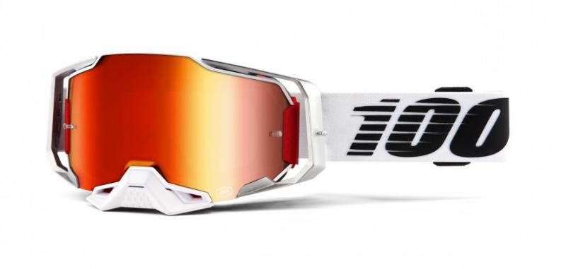 100% Armega Lightsaber Crossglasögon Vit, Rödspegel Siktskiva