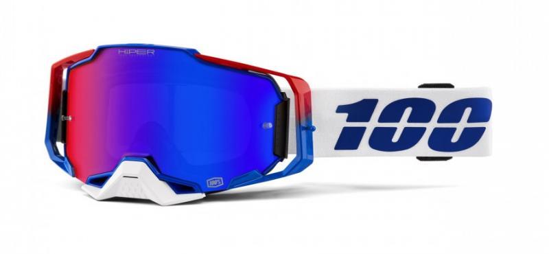 100% Armega Genesis Crossglasögon Vit, Blå/Rödspegel Siktskiva