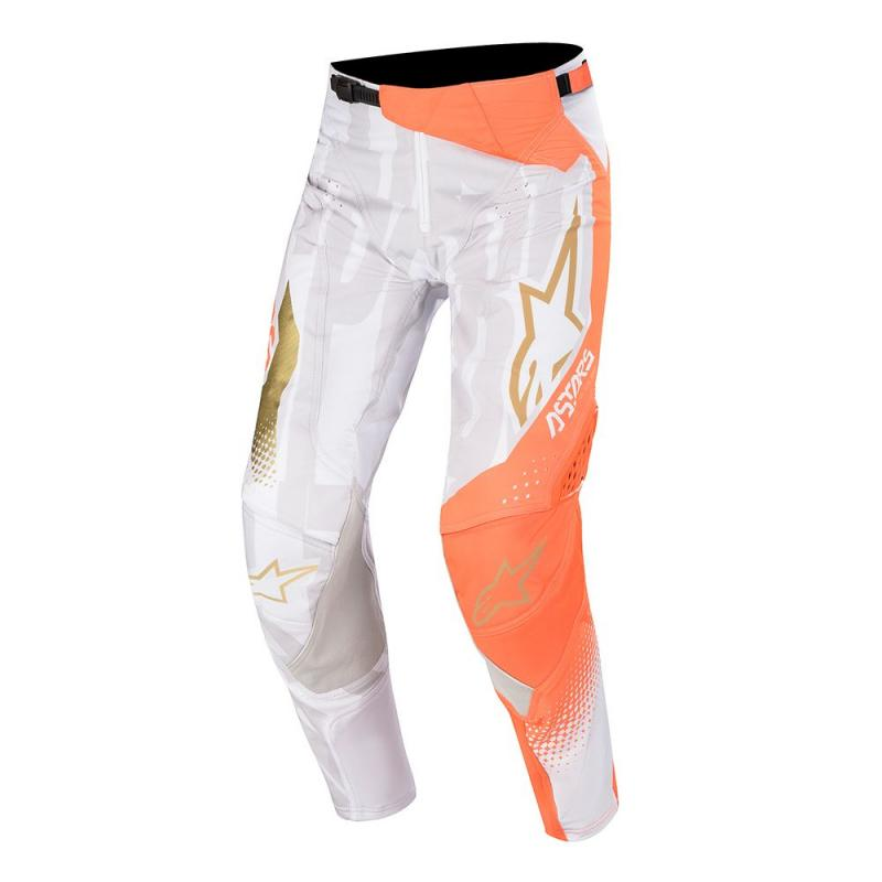 Alpinestars Techstar Factory Crossbyxor Vit/Fluo-Orange/Guld