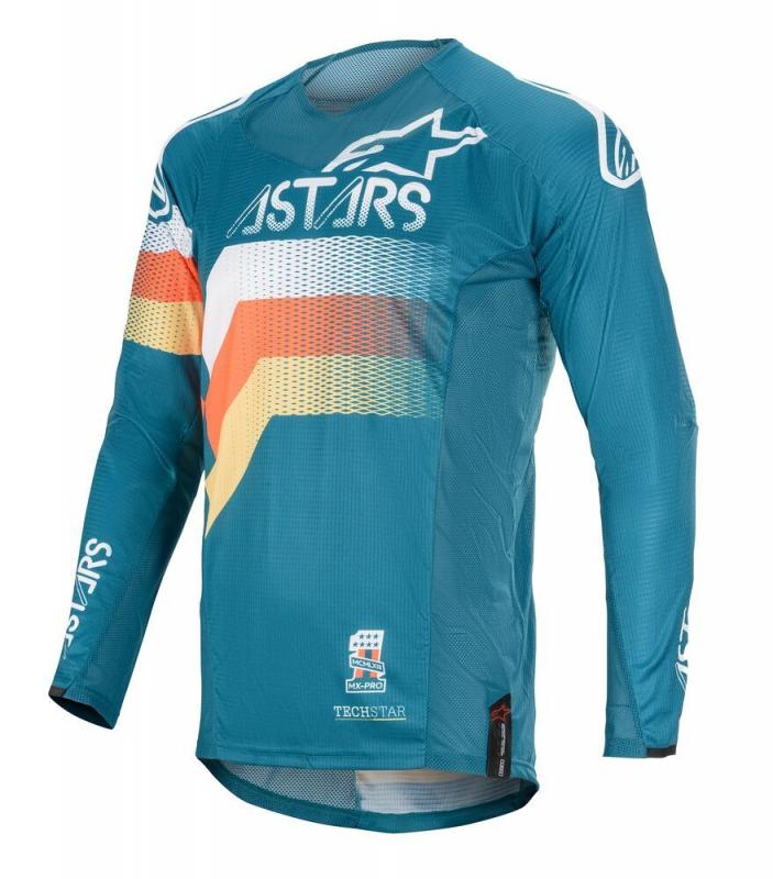 Alpinestars Techstar Venom Crosströja Petrol/Vit/Fluo-Orange