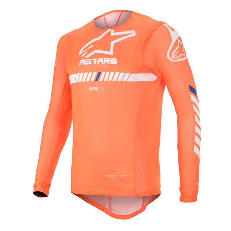 Alpinestars Supertech Crosströja Fluo-Orange/Vit/Blå