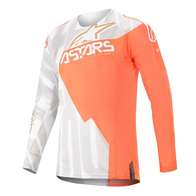 Alpinestars Techstar Factory Crosströja Vit/Fluo-Orange/Guld