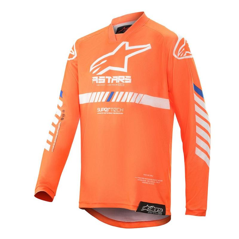 Alpinestars Racer Tech Barn Crosströja Fluo-Orange/Vit/Blå