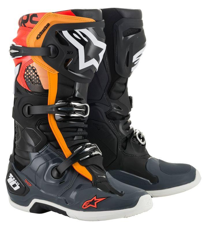 Alpinestars Tech 10 Crosstövlar Svart/Grå/Orange/Fluo-Röd