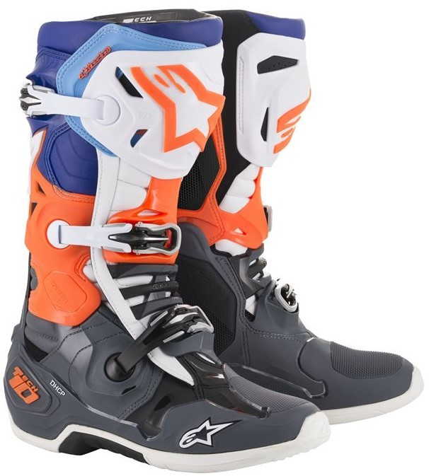 Alpinestars Tech 10 Crosstövlar Grå/Blå/Flou-Orange