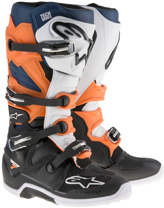 Alpinestars Tech 7 Crosstövlar Svart/Vit/Orange/Blå