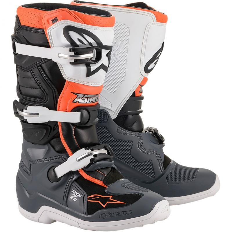 Alpinestars Tech 7s Barn Crosstövel Svart/Grå/Vit/Fluo-Orange