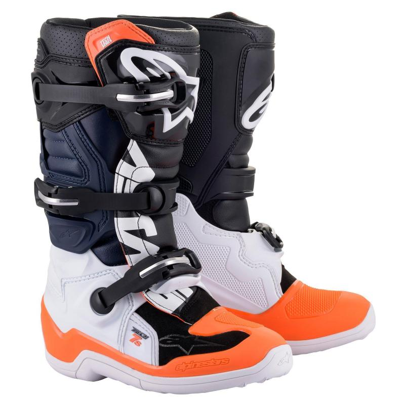 Alpinestars Tech 7s Barn Crosstövel Svart/Vit/Fluo-Orange