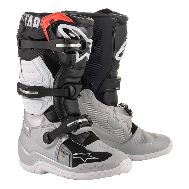 Alpinestars Tech 7s Barn Crosstövel Svart/Silver/Vit