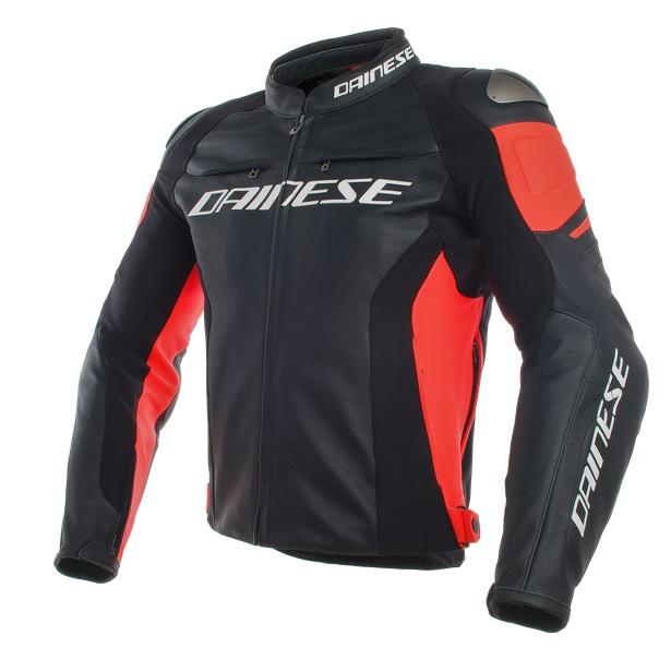 Dainese Racing 3 Skinnjacka Svart/Svart/Fluo-röd