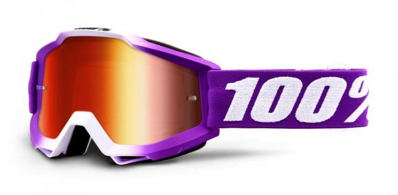 100% Accuri Framboise Crossglasögon, Spegelröd Siktskiva