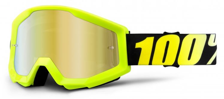100% Strata Crossglasögon Neon Gul, Guldspegel Siktskiva