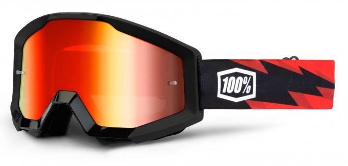 100% Strata Goggle Slash Crossglasögon Svart, Rödspegel Siktskiva