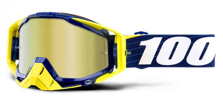 100% Racecraft Bibal Crossglasögon Marinblå, Guldspegel Siktskiva