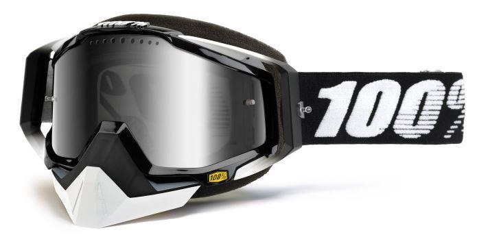 100% Racecraft Snowmobile Abyss Crossglasögon Svart, Dubbel Silverspegel Ventilerad Siktskiva